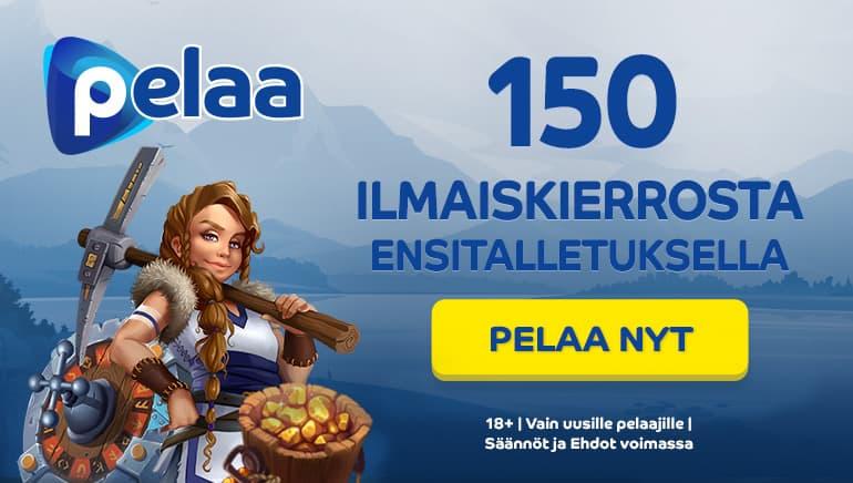 pelaa casino tarjoaa 150 ilmaiskierrosta ensitalletuksen yhteydessä