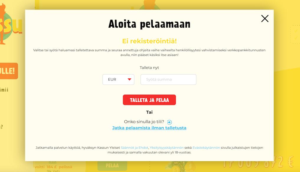 Kassu on täysin suomalainen kasino jolla rekisteröintiä ei tarvita